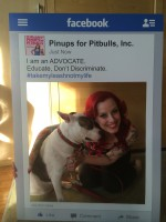 Deirdre 'Little Darling' Franklin, President & Founder of Pinups for Pitbulls, Inc. pictured with Idgie B. of Dallas, TX. Idgie is blind, deaf, and is smarter than most people!