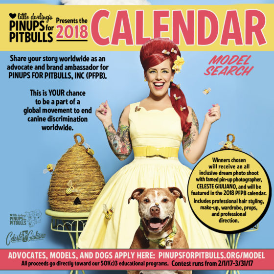 Pinups for Pitbulls looking for pin up models for pin up calendar. Poster features Little Darling and Baxter Bean as they tend to a beehive.