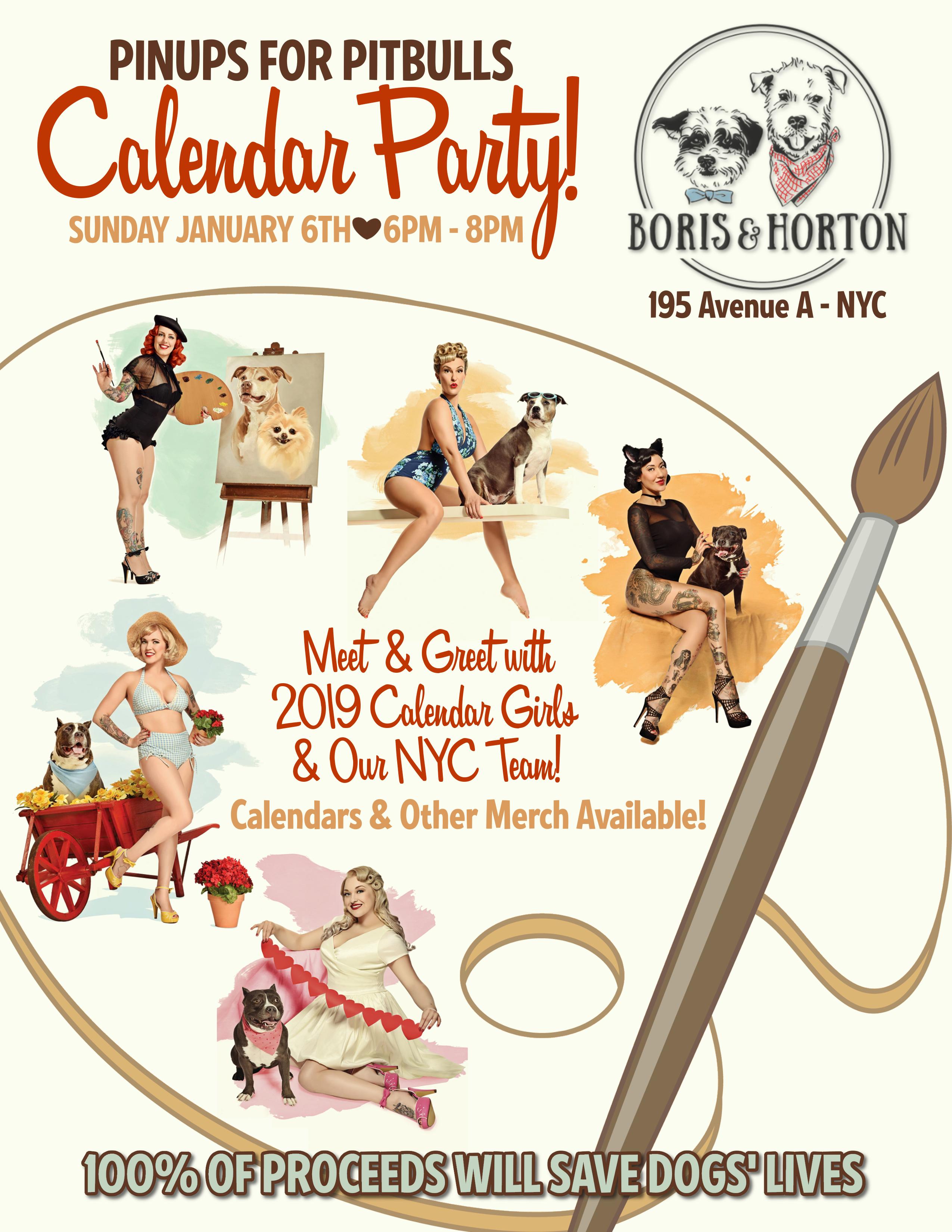 Boris & Horton NYC Meet & Greet Calendar Party! - Pinups for Pitbulls